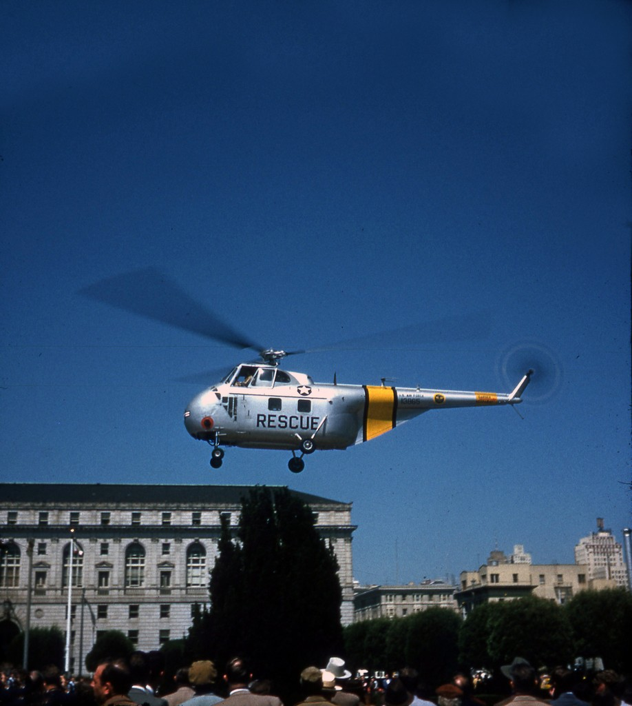 San Francisco Main Library 1957 rescue helicopter