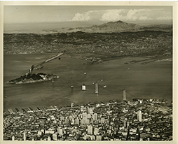 Aerial view San Francisco Oakland Bay Bridge Construction 1934